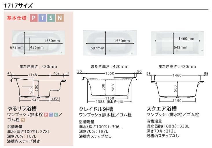 TOTOサザナ1717サイズの浴槽