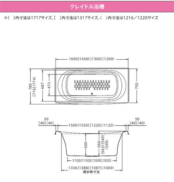 クレイドル浴槽の寸法図