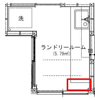 脱衣所の図面(ルンバが通れるスペース)