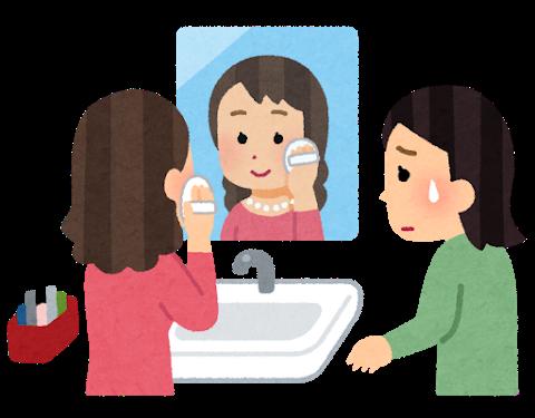洗面台の前で長時間お化粧(メイク)をしている女性と、それを邪魔だと思っている女性