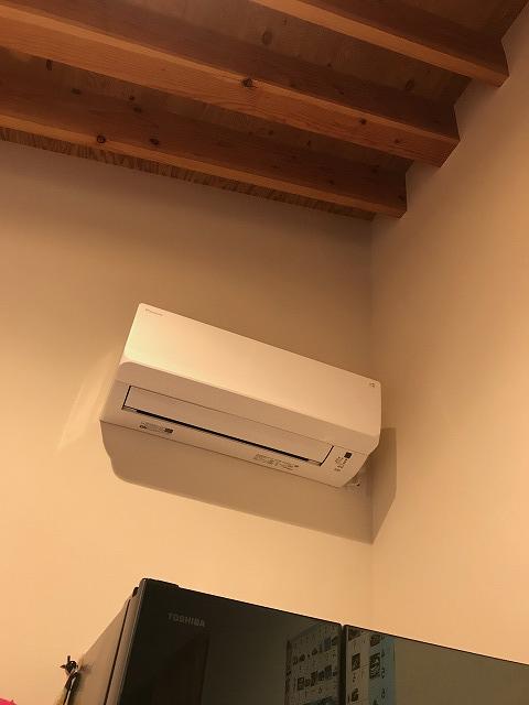 勾配天井のエアコン設置場所