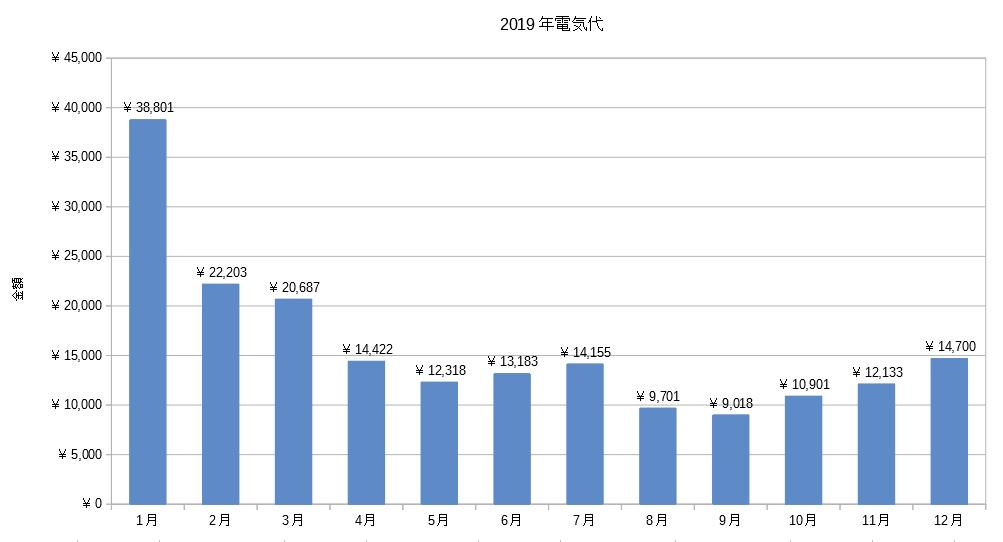 2019年電気代グラフ