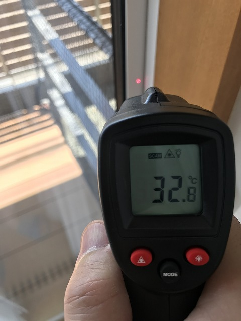 日射遮蔽時のサーモスXの室内フレーム温度
