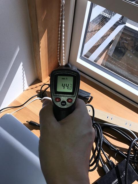 西日が当たる時間のAPW330の室内フレーム温度