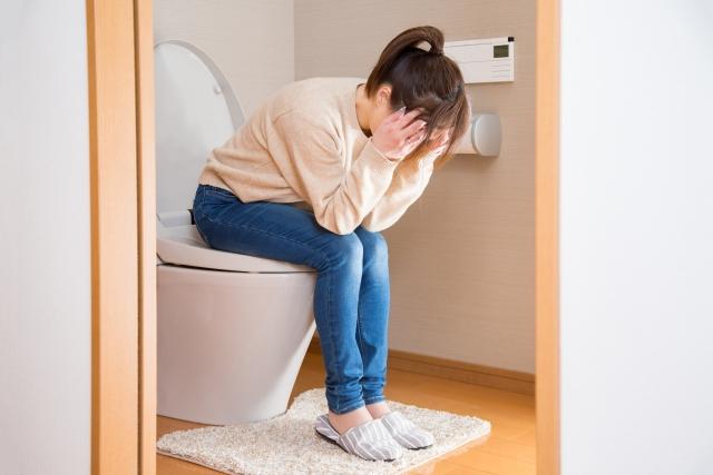 トイレに座る女性