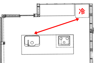キッチンの冷蔵庫とシンクの動線