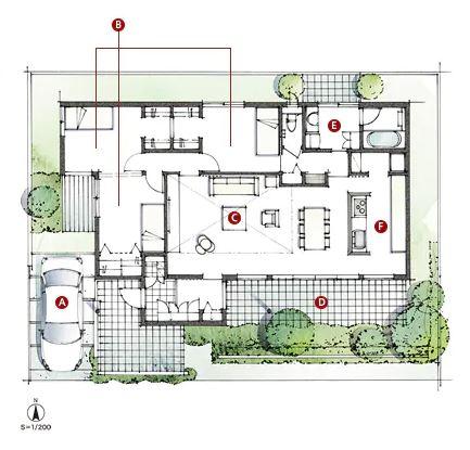 積水ハウスさんの平屋住宅「平屋の季(とき)」の間取り図