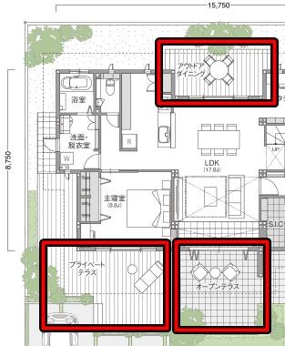 トヨタホームさんの平屋住宅「シンセ・ピアーナ」の3種類のテラス間取り図