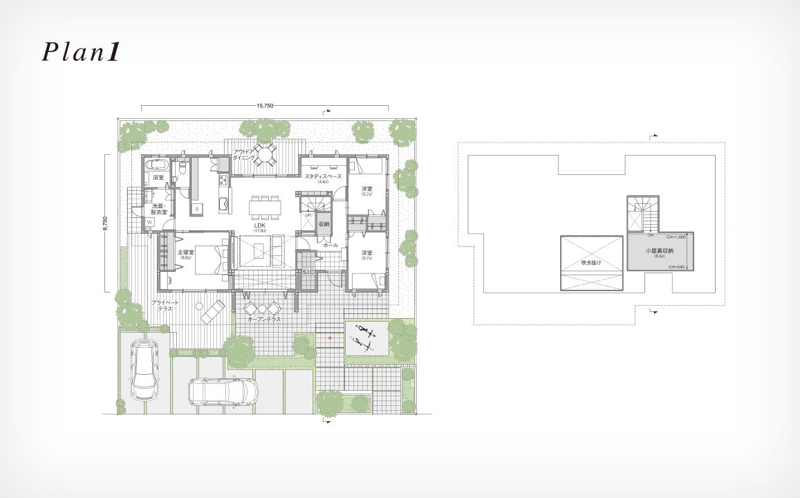トヨタホームさんの平屋住宅「シンセ・ピアーナ」の間取り図