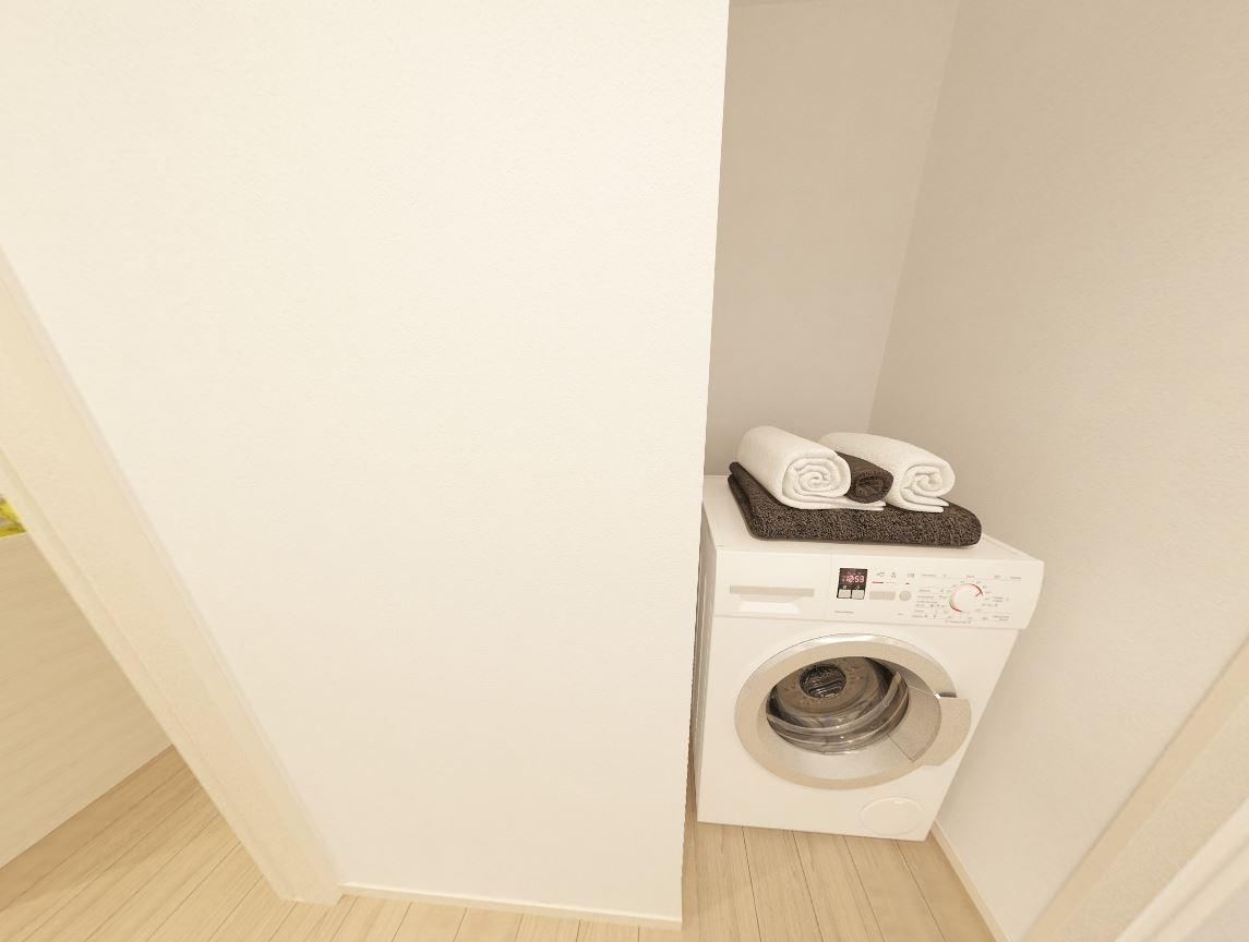 ジブンハウスさんの平屋住宅「1211F SCANDIA」の洗濯機置き場