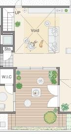 三井ホームさんの平屋住宅「WESTWOOD」の中庭間取り図