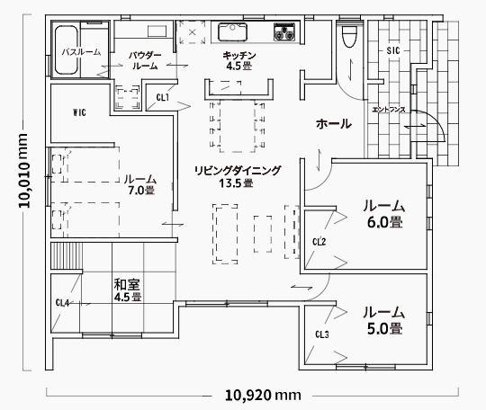ジブンハウスさんの平屋住宅「1211F SCANDIA」の間取り図
