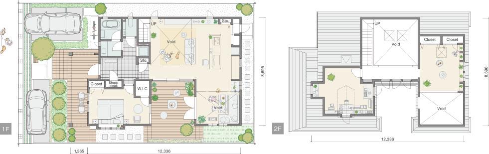 三井ホームさんの平屋住宅「WESTWOOD」の間取り図