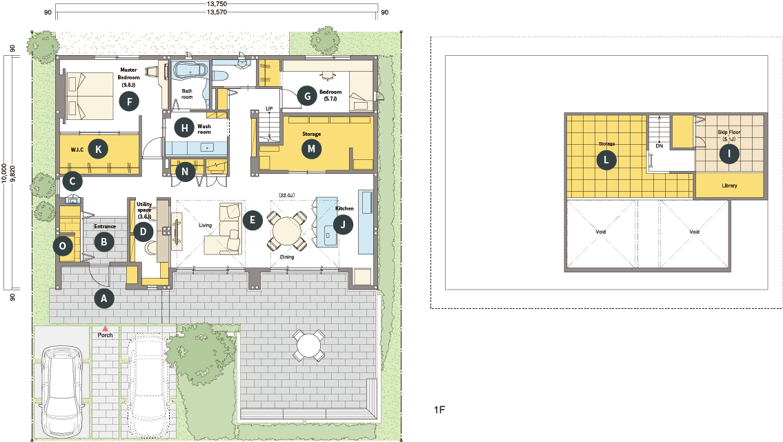 トヨタホームさんの平屋住宅「シンセ・スマートステージプラス(平屋)」の間取り図